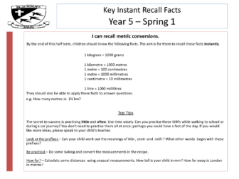 Key Instant Recall Facts – Year 5 – Spring 1
