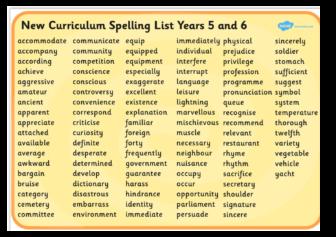 Year 5/6 Spelling