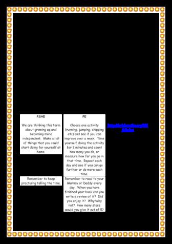 Homework Menu Term 6