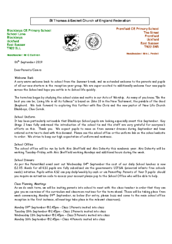 Newsletter 6th September