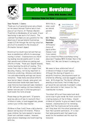 Newsletter 4th October