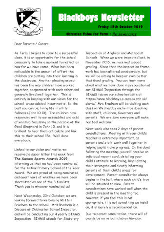 Newsletter 18th October
