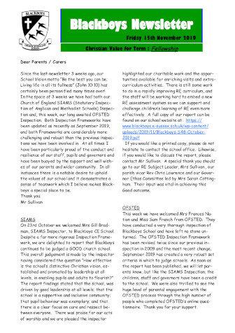 Newsletter 15th November