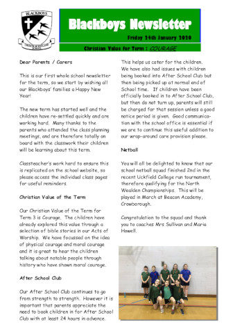 Newsletter 24th January