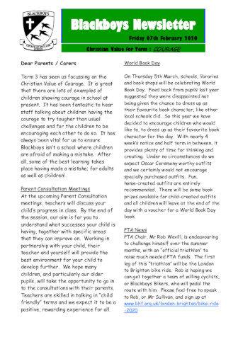 Newsletter 7th February