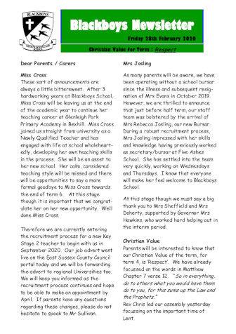 Newsletter 28th February