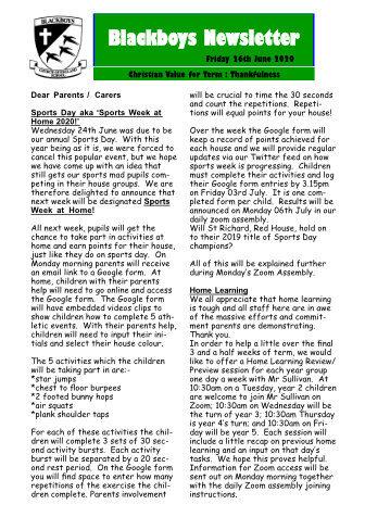 Newsletter 26th June