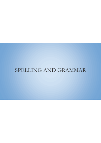 Spelling & Grammar Slides