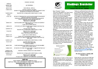 Newsletter 15th February