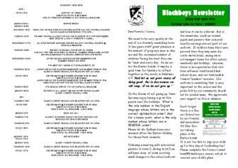 Newsletter 5th April
