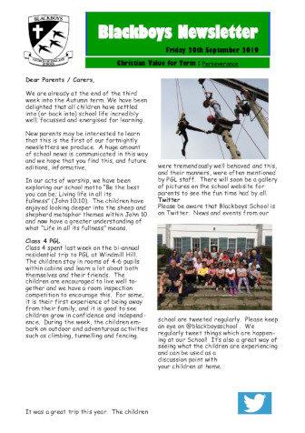 Newsletter 20th September