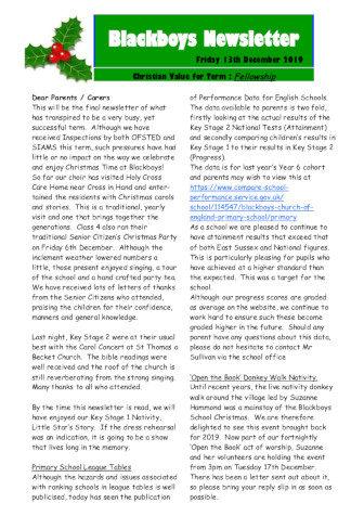 Newsletter 13th December