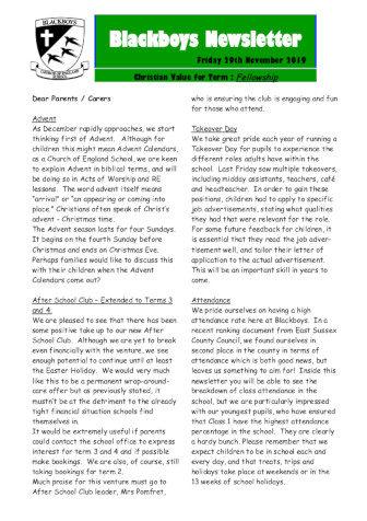 Newsletter 29th November