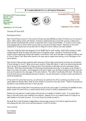 Newsletter 2nd April