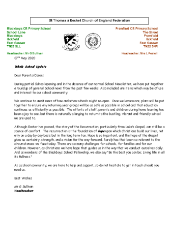 Newsletter 7th May