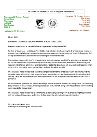 Proposal for Variation to the Admissions Arrangements for September 2021