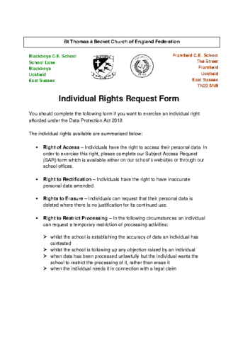 Individual Rights Request Form