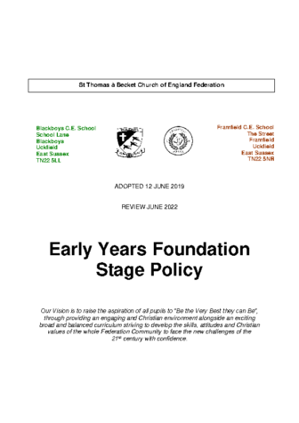 Early Years Foundation Stage Policy