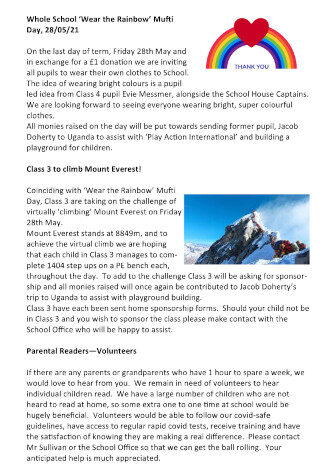 Newsletter 21st May