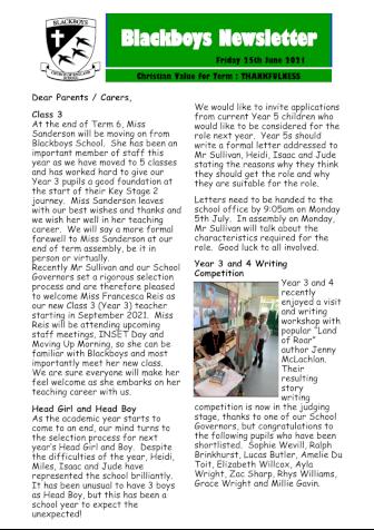 Newsletter 25th June