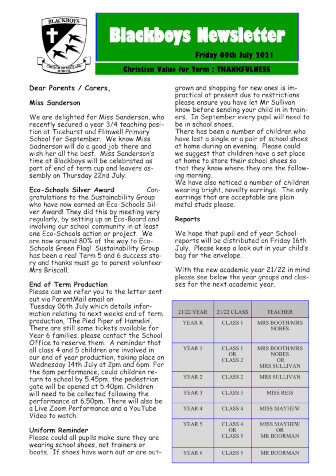 Newsletter 9th July