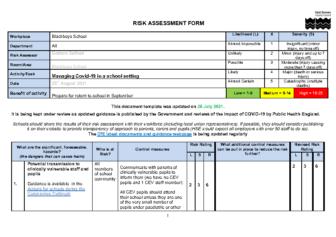 Covid Risk Assessment – Sept 2021
