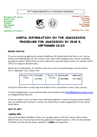 Useful Information on the Admissions Procedure for Admission in Year R